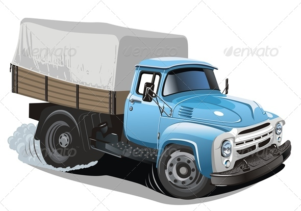 Cartoon Cargo Truck - Man-made Objects Objects