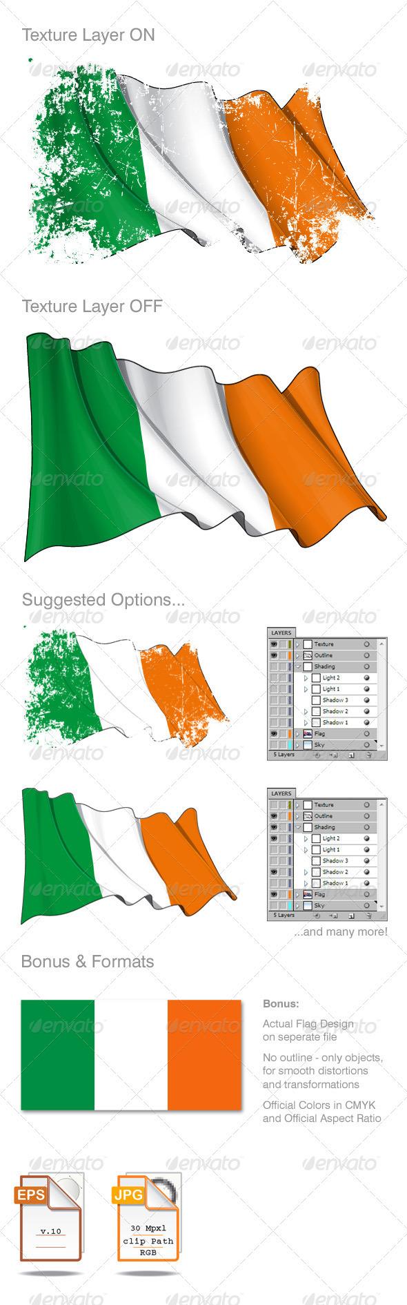 Ireland Flag Grunge  - Backgrounds Decorative