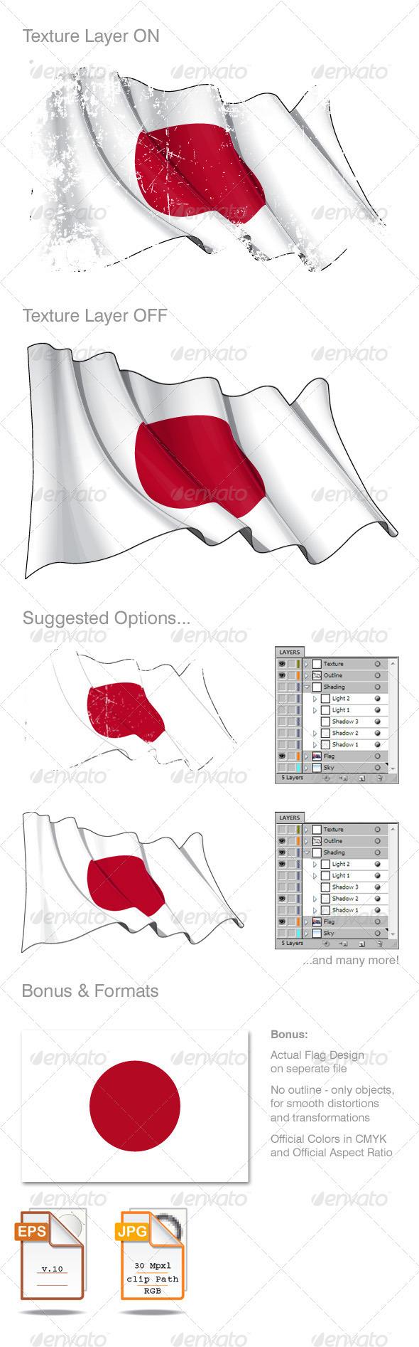 Japan Flag Grunge - Backgrounds Decorative