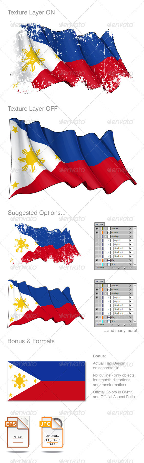 Philippines Flag Grunge - Backgrounds Decorative