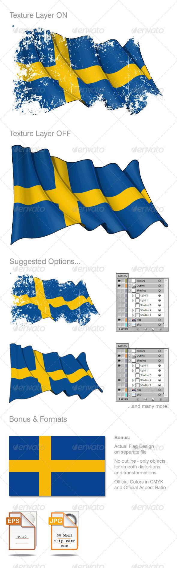 Sweden Flag Grunge - Backgrounds Decorative