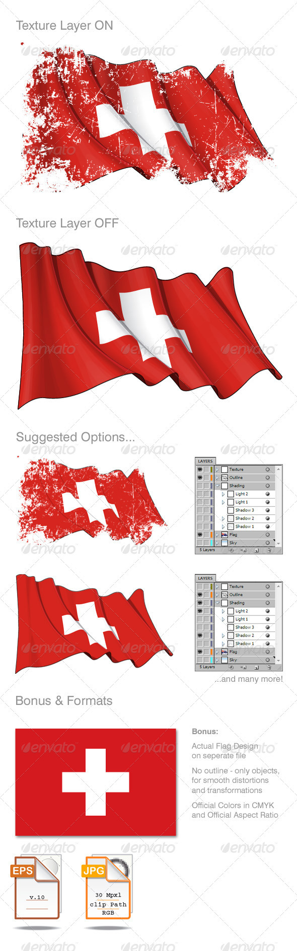 Switzerland Flag Grunge - Backgrounds Decorative