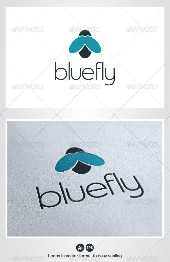 Blue Fly Logo - Animals Logo Templates