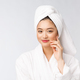 Spa skincare beauty Asian woman drying hair with towel on head after shower treatment. Beautiful - PhotoDune Item for Sale