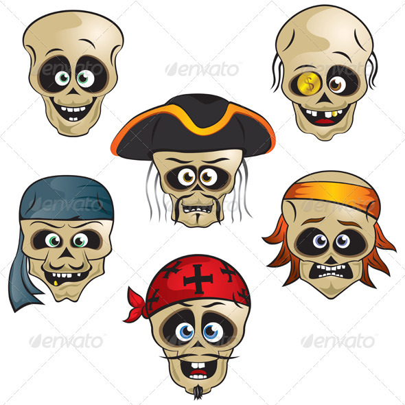 Pirates Skulls - Characters Vectors