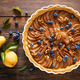 Thanksgiving pear tart, pie or cake with fresh pears and blueberry, cinnamon and walnuts - PhotoDune Item for Sale