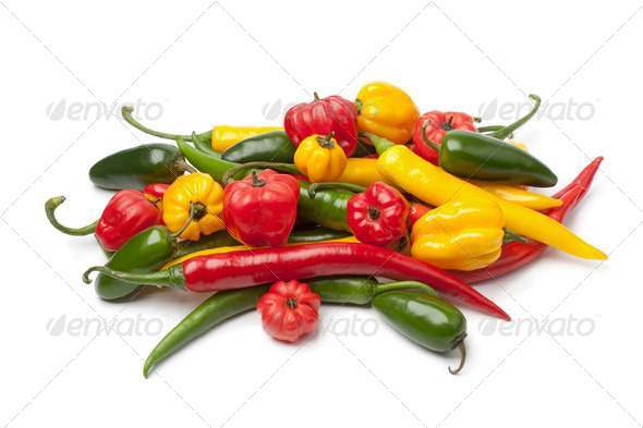 Mix of fresh hot chili peppers - Stock Photo - Images