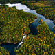Aerial view of blue rivers and lakes in beautiful orange and red autumn forest, Finland. - PhotoDune Item for Sale