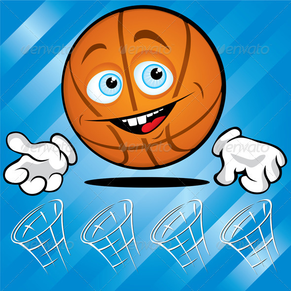 Funny smiling basket ball - Characters Vectors