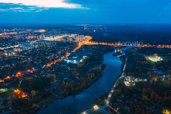 Grodno, Belarus. Night Aerial Bird's-eye View Of Hrodna Cityscape Skyline. Residential District - Stock Photo - Images