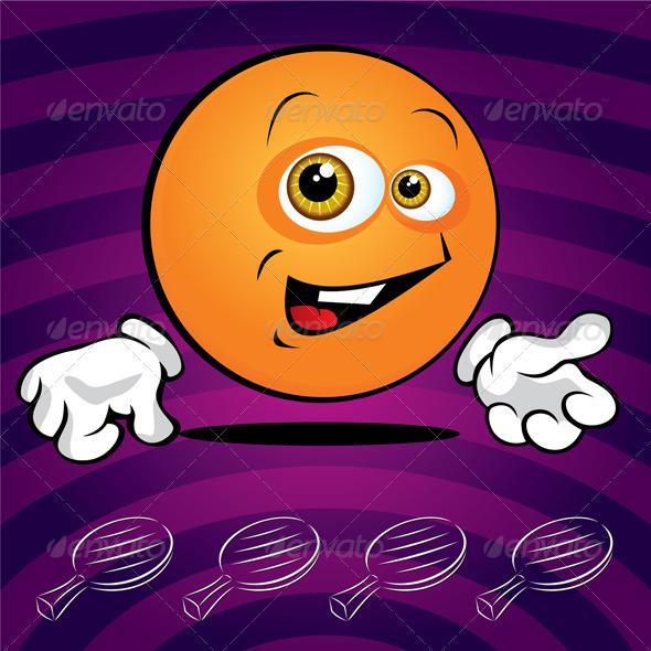 Funny smiling ping pong ball  - Characters Vectors
