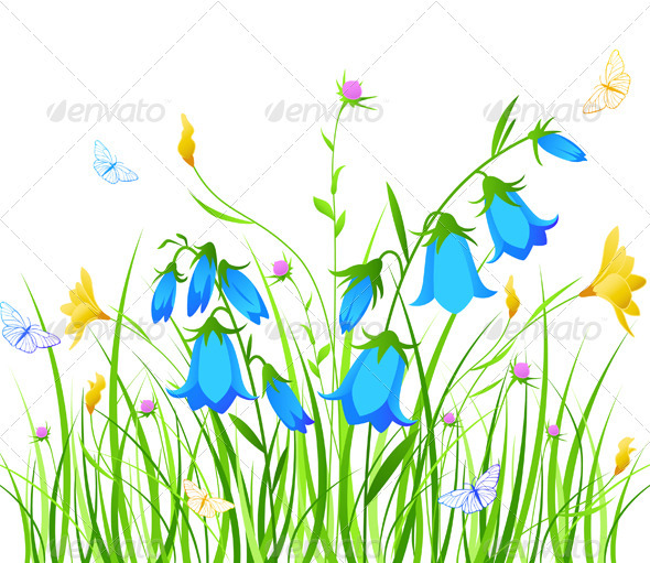 Background with Blue and Yellow Flowers - Flowers & Plants Nature