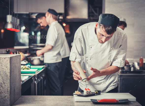 sushi preparing in the restaurant kitchen - Stock Photo - Images