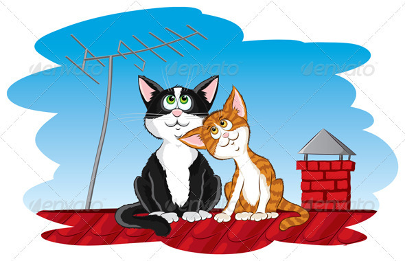 Cats on the roof - Characters Vectors