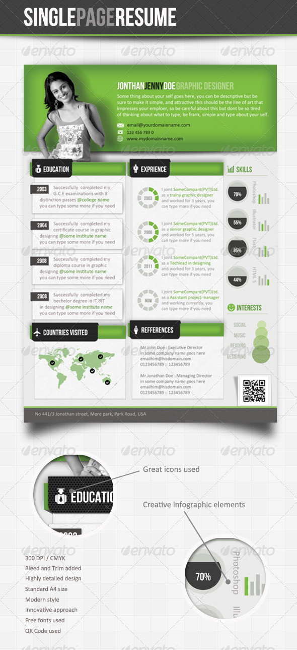 Green Theme - Info-Graphic Single Page Resume - Resumes Stationery