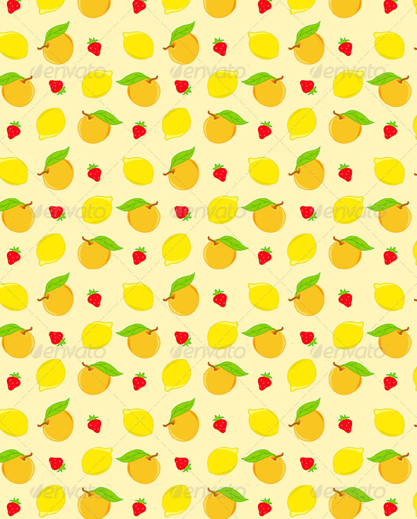Seamless Pattern with Lemon and Orange  - Patterns Decorative