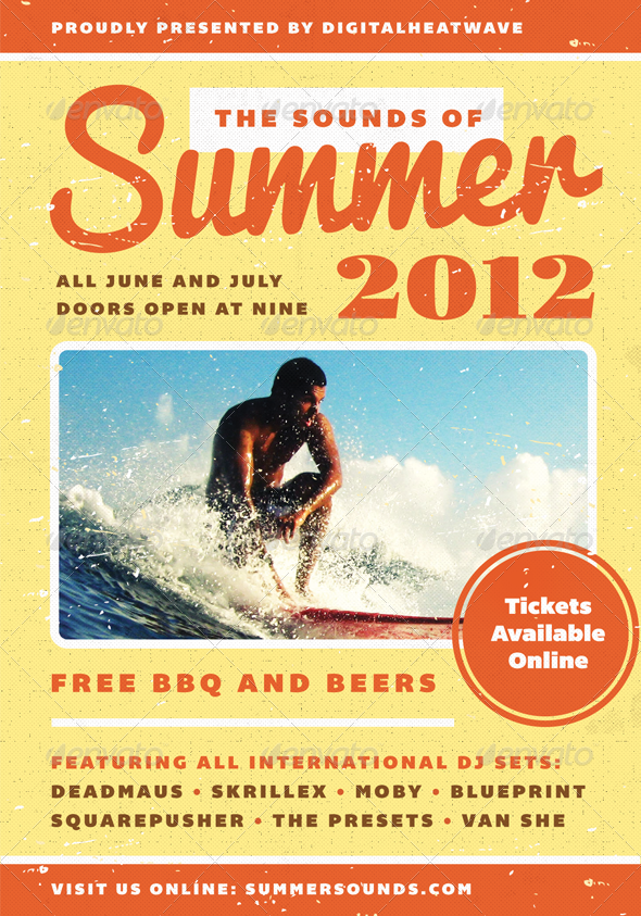 Summer Sound Summer Flyer Template By Furnace Graphicriver