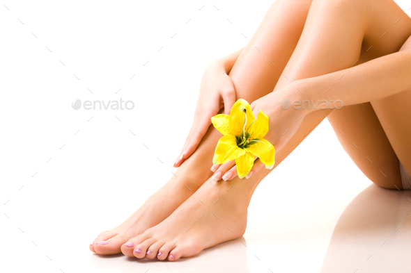 Beautiful well-groomed legs of girl with a flower - Stock Photo - Images