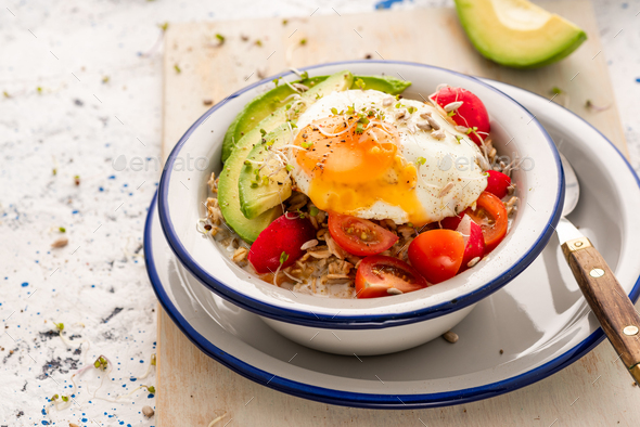 Healthy Breakfast Bowl with Vegetables and Egg - Stock Photo - Images