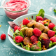 Healthy Falafel with Salad and Fresh Fruits in Colorful Bowl - PhotoDune Item for Sale