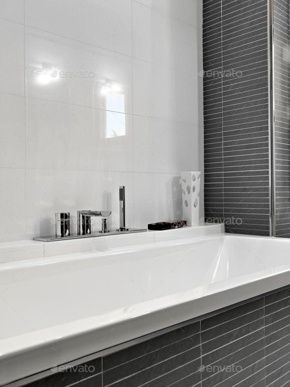 CloseUp on the Bathtub in the ModernBathroom - Stock Photo - Images