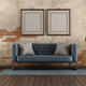 Living room with blue classic sofa and old brick wall - PhotoDune Item for Sale