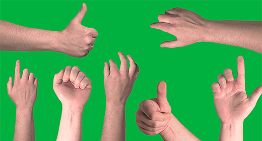 Touch Screen Finger Hand On Green Screen