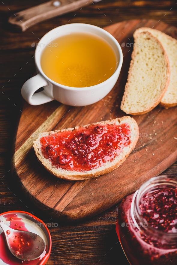 Toast with homemade raspberry jam - Stock Photo - Images