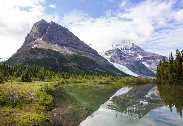 Berg lake - Stock Photo - Images