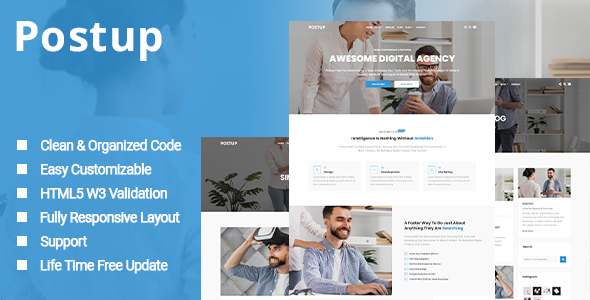Extraordinary Postup - One Page Parallax Template