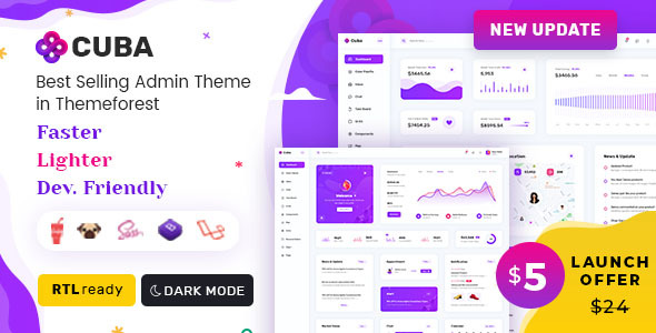Cuba- Bootstrap HTML, React & Laravel Admin Dashboard Template Nulled