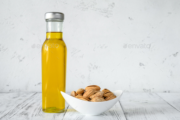 Bottle of almond oil - Stock Photo - Images