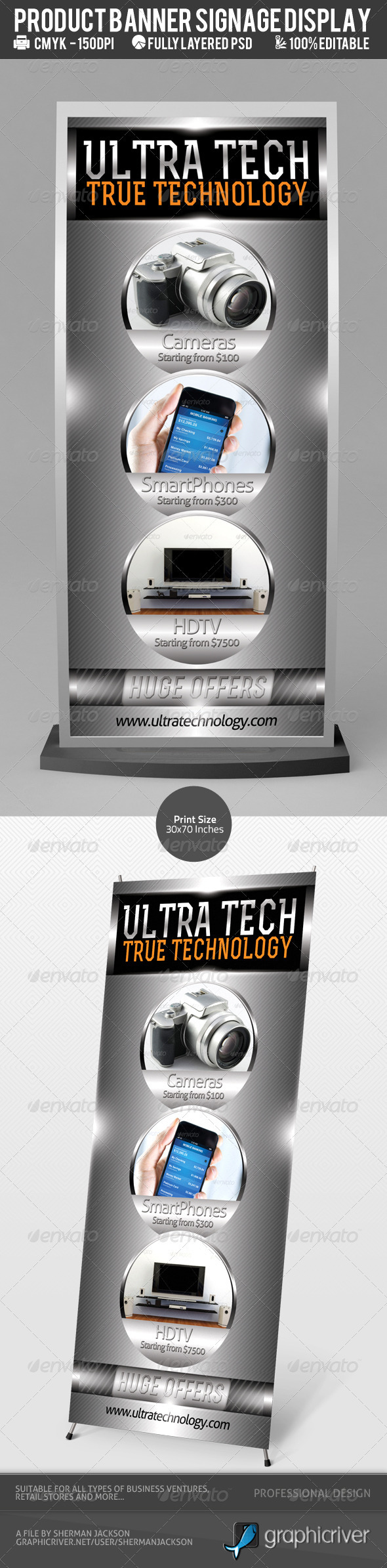 Multi-Product Outdoor Signage Display PSD Template - Signage Print Templates