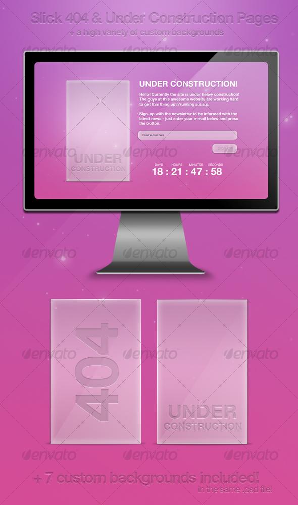 Slick 404 & Under Construction Pages - Web Elements