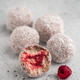 Raw lamington bliss balls with raspberries chia jam - PhotoDune Item for Sale