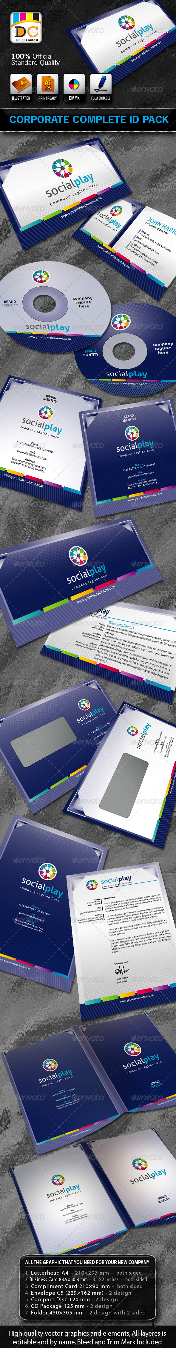 Social Play Corporate ID Pack + Logo - Stationery Print Templates