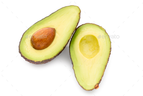 Avocado pieces set isolated on white background. - Stock Photo - Images
