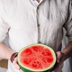 Bearded man with half of watermelon - PhotoDune Item for Sale