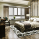 3d rendering luxury bedroom suite in resort high rise hotel with working table - PhotoDune Item for Sale