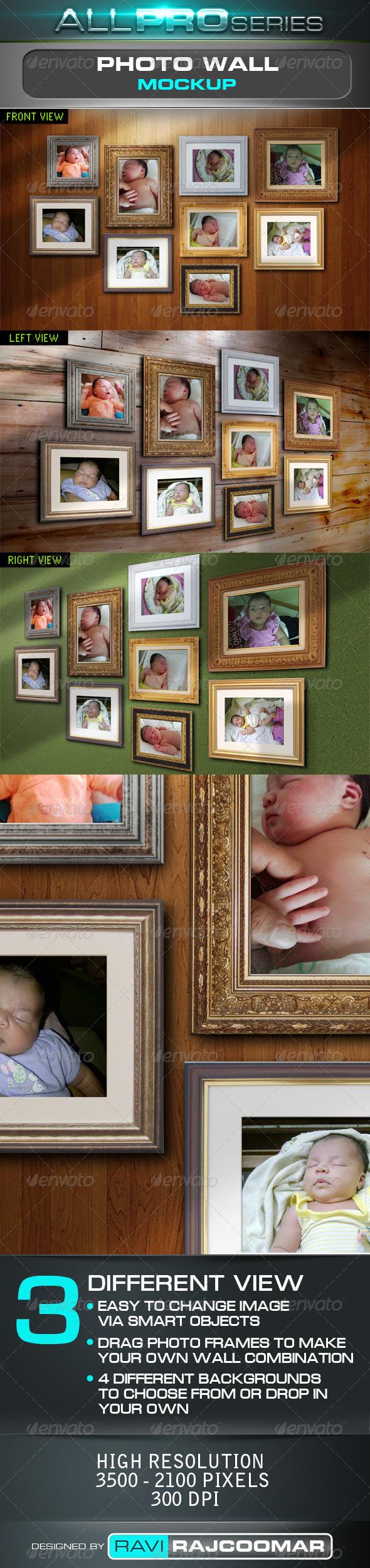 Photo Wall Mockup - Artistic Photo Templates