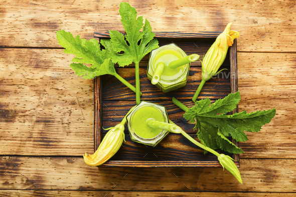 Fresh,green smoothie with smoothie - Stock Photo - Images