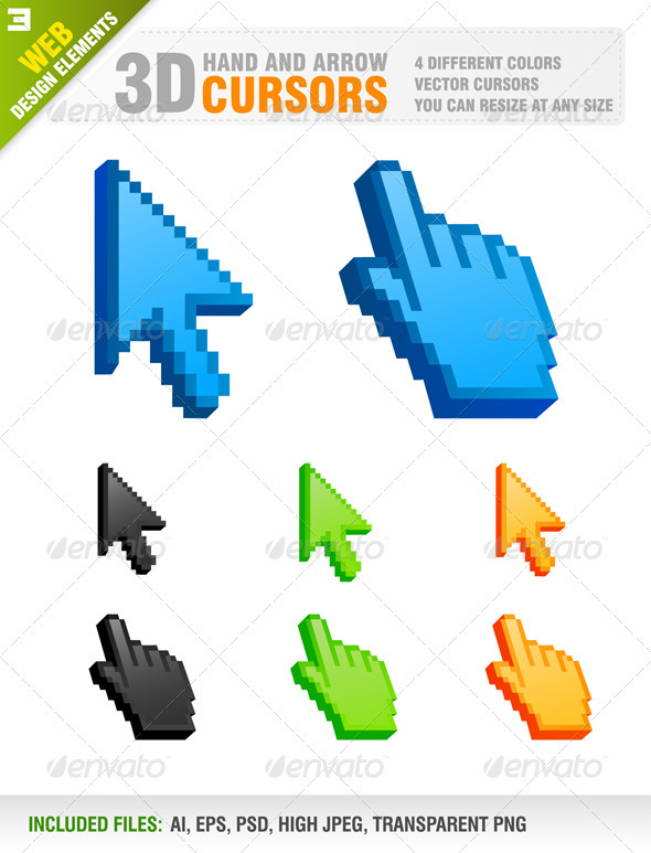 Hand and Arrow Cursors 3D vector - Web Elements Vectors