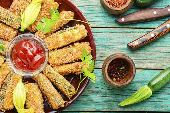 Breaded fried zucchini sticks - Stock Photo - Images