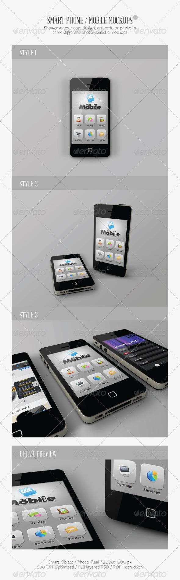 Smart Phone / Mobile Mock-ups V2 - Mobile Displays