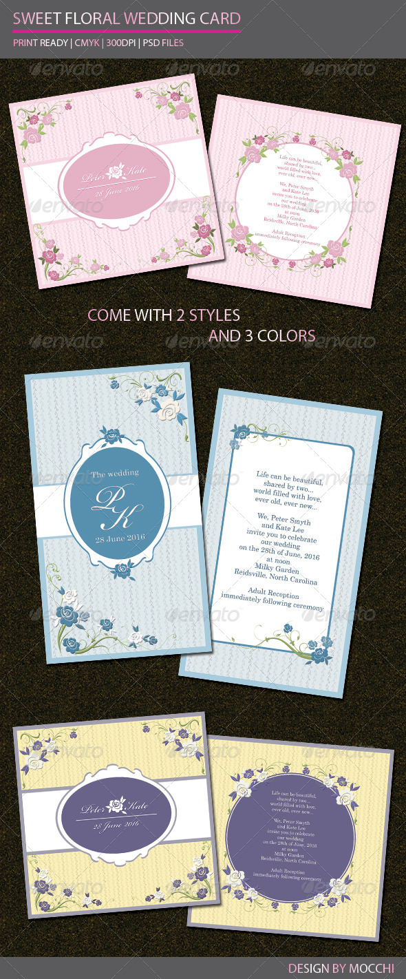Sweet Floral Wedding Card - Weddings Cards & Invites