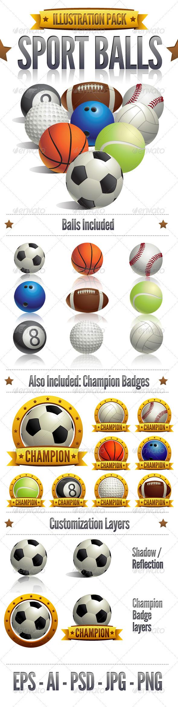Sport Balls - Objects Illustrations