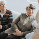 Older ladies sit on a couch and talk to a nurse at a local nursing home - PhotoDune Item for Sale