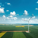 Aerial view of wind turbines on modern wind farm from drone pov - PhotoDune Item for Sale