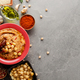 Hummus topped with chickpeas, olive oil - PhotoDune Item for Sale