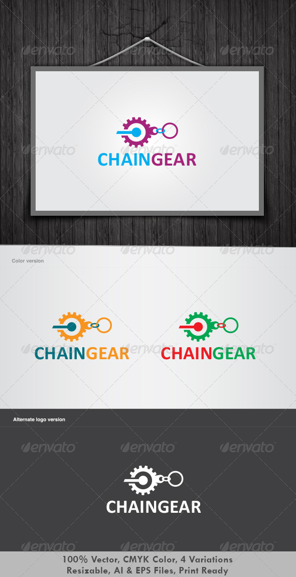 Chain Gear Logo - Vector Abstract
